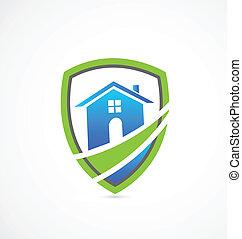 prawdziwy, dom, tarcza, stan, logo