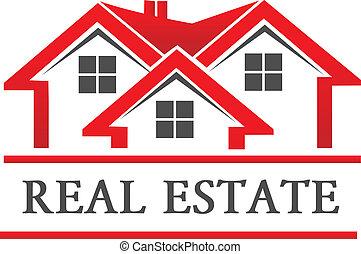 prawdziwy, dom, towarzystwo, stan, logo