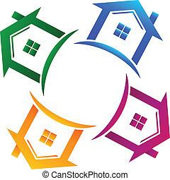 prawdziwy, domy, 4, stan, logo
