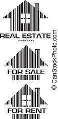 prawdziwy, domy, barcode, stan