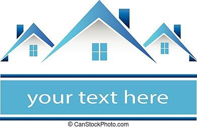 prawdziwy, domy, logo, stan