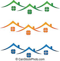 prawdziwy, domy, stan, barwny, logo-