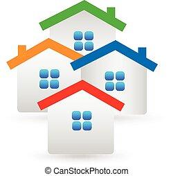 prawdziwy, domy, stan, logo