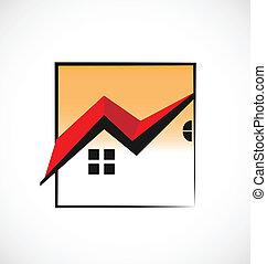 prawdziwy, domy, ułożony, stan, logo