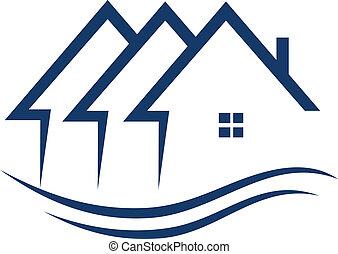prawdziwy, domy, wektor, stan, logo