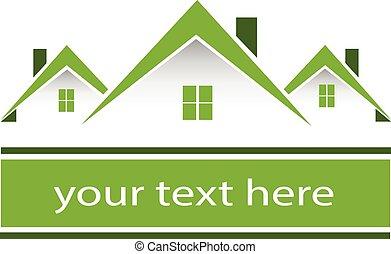 prawdziwy, domy, zielony, stan, logo