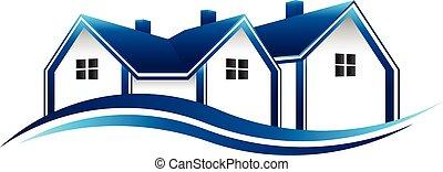 prawdziwy, graficzny, stan, domy, wektor, projektować, logo.