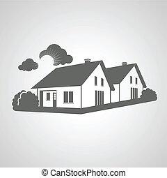 prawdziwy, grupa, stan, symbol, sylwetka, znak, domy, wektor, nieruchomość, ikona, dom