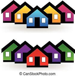 prawdziwy, komplet, stan, domy, wektor, logo