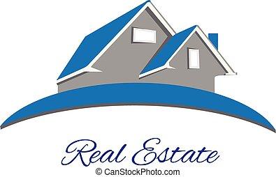 prawdziwy, logo, błękitny, stan, dom