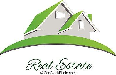 prawdziwy, logo, zielony, stan, dom