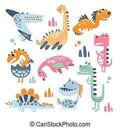 prawdziwy, odciski, barwny, jurajski, dziecinny, zbiór, stylizowany, dinozaury, tchórzliwy, gadzina, urojony, gatunek