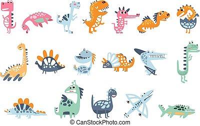 prawdziwy, odciski, komplet, barwny, jurajski, dziecinny, stylizowany, dinozaury, tchórzliwy, gadzina, urojony, gatunek