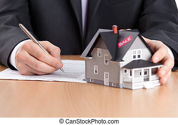 prawdziwy, pojęcie, stan, dom, -, kontrakt, za, architektoniczny, znaki, biznesmen, wzór