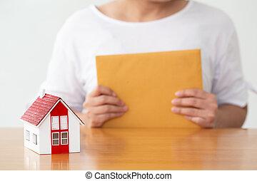 prawdziwy, pojęcie, stan, porozumienie, znak, kobieta dzierżawa, kontrakt, dom ubezpieczenie