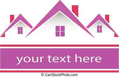 prawdziwy, różowy, domy, stan, logo