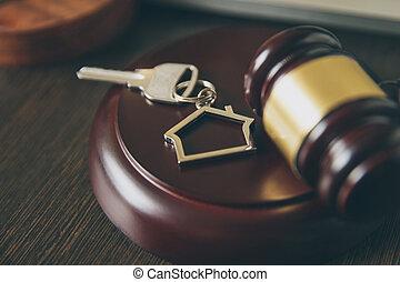 prawdziwy, sprzedajcie, rozkaz, stan, drewniany dom, concept., licytacja, prawnik, gavel, dom, albo, kupno