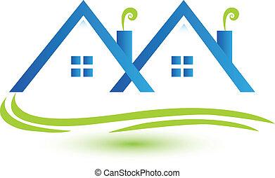prawdziwy, townhouses, wektor, stan, logo