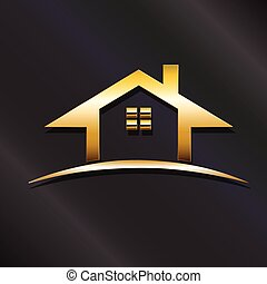 prawdziwy, złoty, graficzny, stan, dom, wektor, projektować, logo.