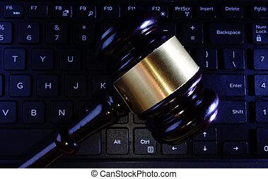 prawny, gavel, klawiaturowy komputer