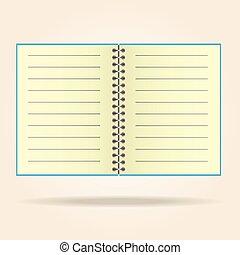 prawny, pad., vector., żółty, czysty, notatnik