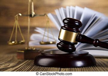 prawo, sędziowie, drewniany gavel, skalpy