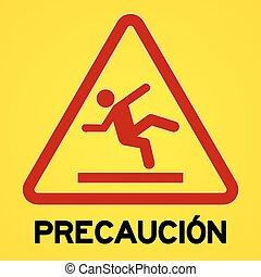 precaucion, symbol, żółty, czerwony
