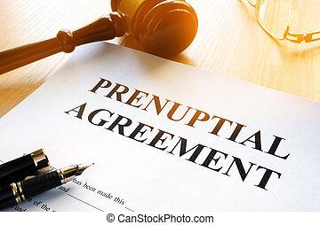 prenuptial, stół., porozumienie