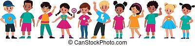 preschool, klasy, rysunek, multiethnic, wychowywanie, przyjaciele, dziewczyny, uśmiechanie się, zbiór, dzieci, ręka, różny, grupa, sprytny, litery, wektor, chłopcy, nastolatki, reputacja, kids., kreska