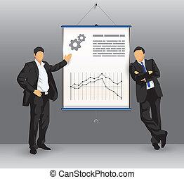 prezentacja, deska, handlowy zaludniają
