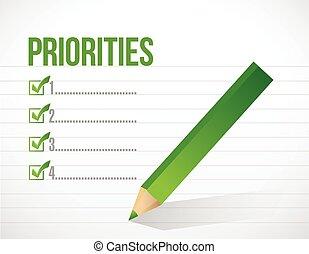 priorities, projektować, spis, ilustracja, notatnik
