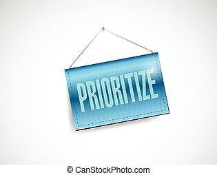 prioritize, chorągiew, ilustracja, wisząc