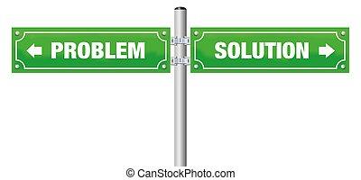 problem, ulica, zielony, rozłączenie, znak