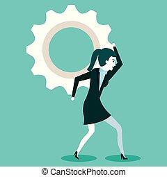 proces, kobieta, praca, mechanizmy, handlowy