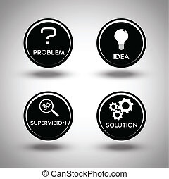 proces, problem rozwiązujący, ikony