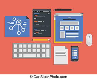 proces, rozwój sieći, programowanie, ilustracja