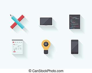 proces, sieć, technologia, płaski, ikony