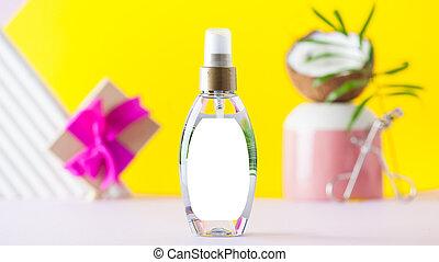 product., extract., włosy, kształt, kosmetyczny, kiść, produkt, troska, orzech kokosowy