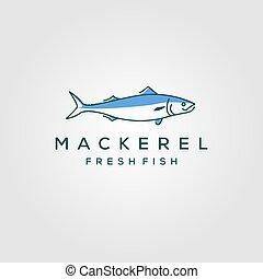 produkty morza, wektor, ilustracja, fish, etykieta, emblemat, sztuka, logo, kreska, makrela, hipster, rocznik wina