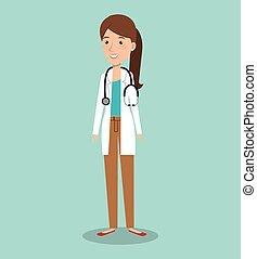 profesjonalna kobieta, avatar, doktor