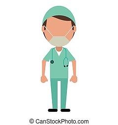 profesjonalny, chirurg, samiec, medyczny