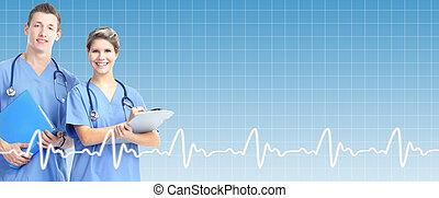 profesjonalny, na, doktor, tło., healthcare