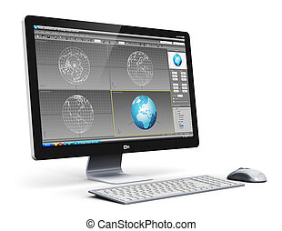 profesjonalny, stacja robocza, komputer, desktop