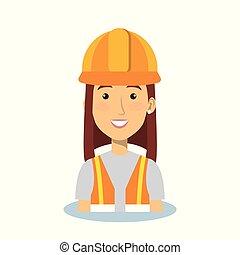 profesjonalny, zbudowanie, kobieta, litera