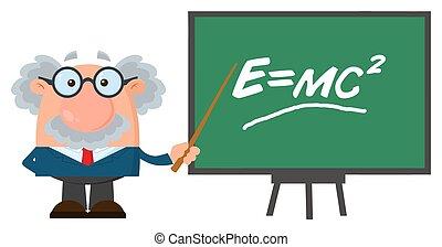 profesor, litera, albo, naukowiec, przedstawiając, einstein, formułka, wskazówka, rysunek