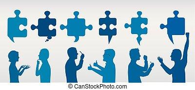 profil, błękitny, pojęcie, success., handlowy zaludniają, solution., zagadka, rozwiązywanie, pieces., strategia, kolor, team., klient, szary, problem, gesturing, service.