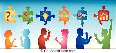 profil, błękitny, symbols., barwny, handlowy zaludniają, solution., zagadka, rozwiązywanie, success., kawałki, team., pojęcie, klient, tło, gesturing., problem, strategia, service.