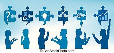profil, błękitny, symbols., success., handlowy zaludniają, solution., zagadka, rozwiązywanie, kawałki, kolor, team., pojęcie, klient, problem, strategia, gesturing, service.