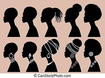 profil, czarnoskóry, wektor, afrykanin, dziewczyny, kobiety, komplet, sylwetka