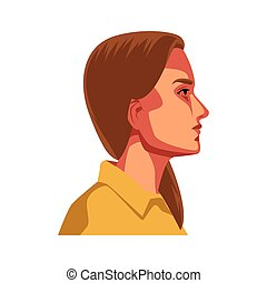 profil, dama, młody